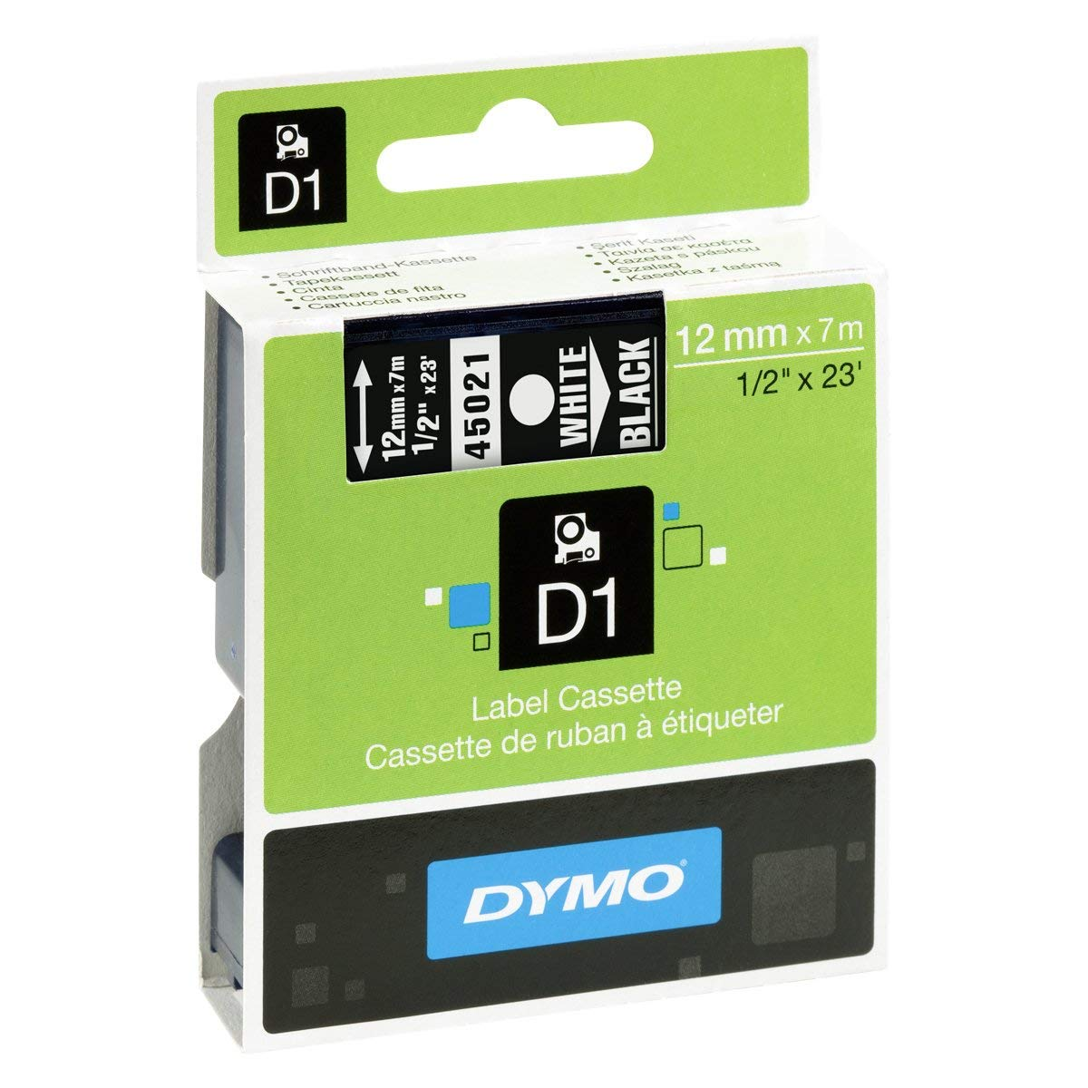 Dymo S0720610 (45021) White on Black D1 Label Tape 12 mm x 7 m - White on Black (pc)