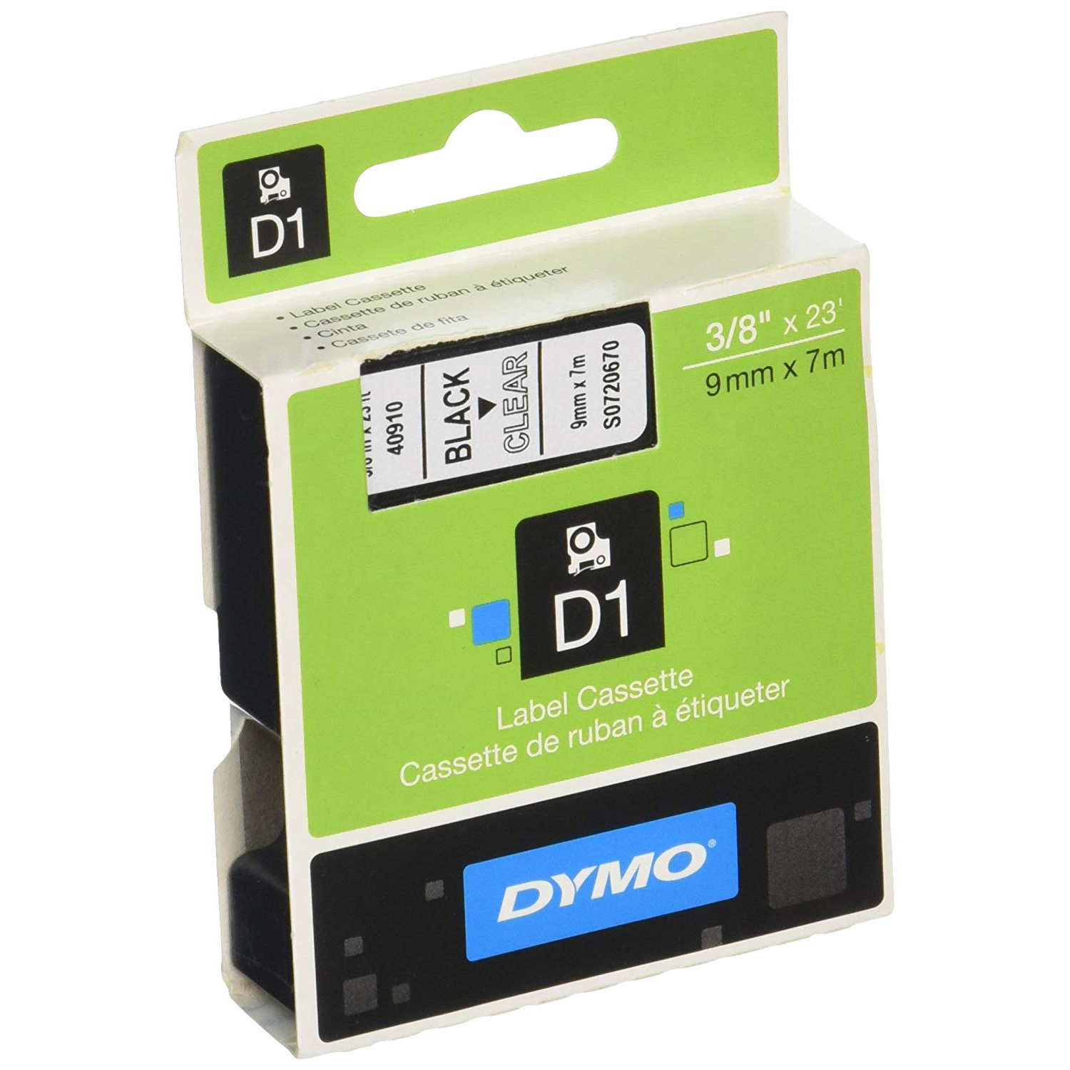 Dymo S0720670 (40910) D1 Standard Tape 9mm x 7m - Black on Clear (pc)