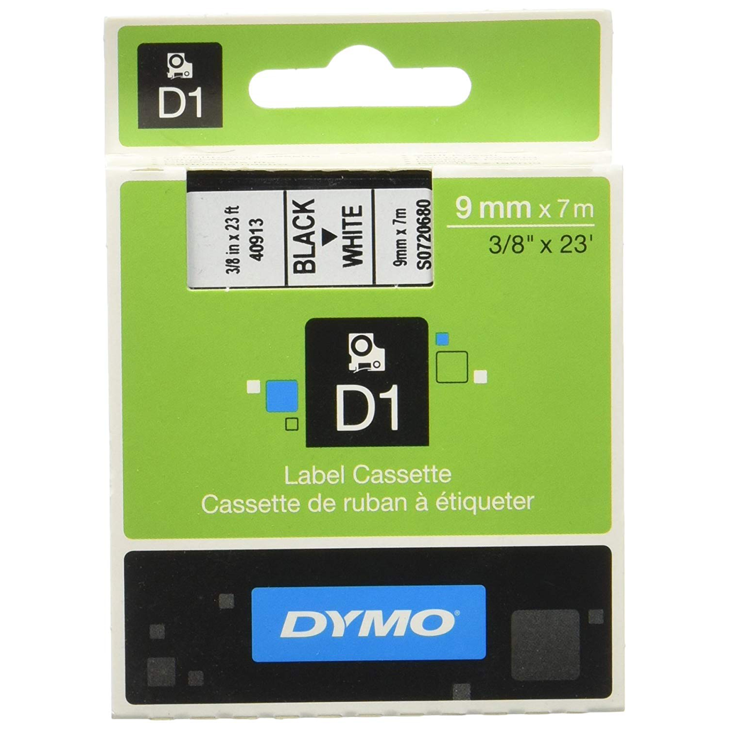 Dymo S0720680 (40913) D1 Standard Tape 9mm x 7m - Black on White (pc)