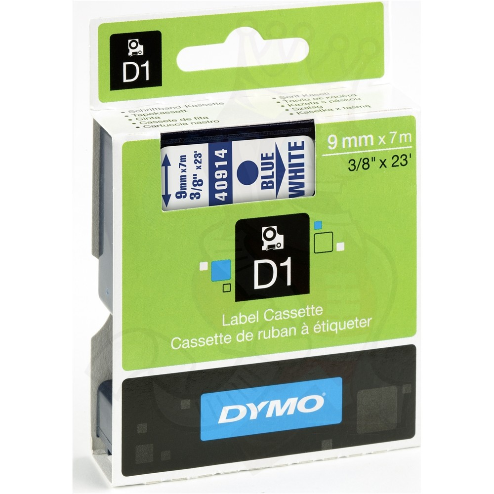 Dymo S0720690 (40914) D1 Label Tape 9mm x 7m - Blue on White (pc)