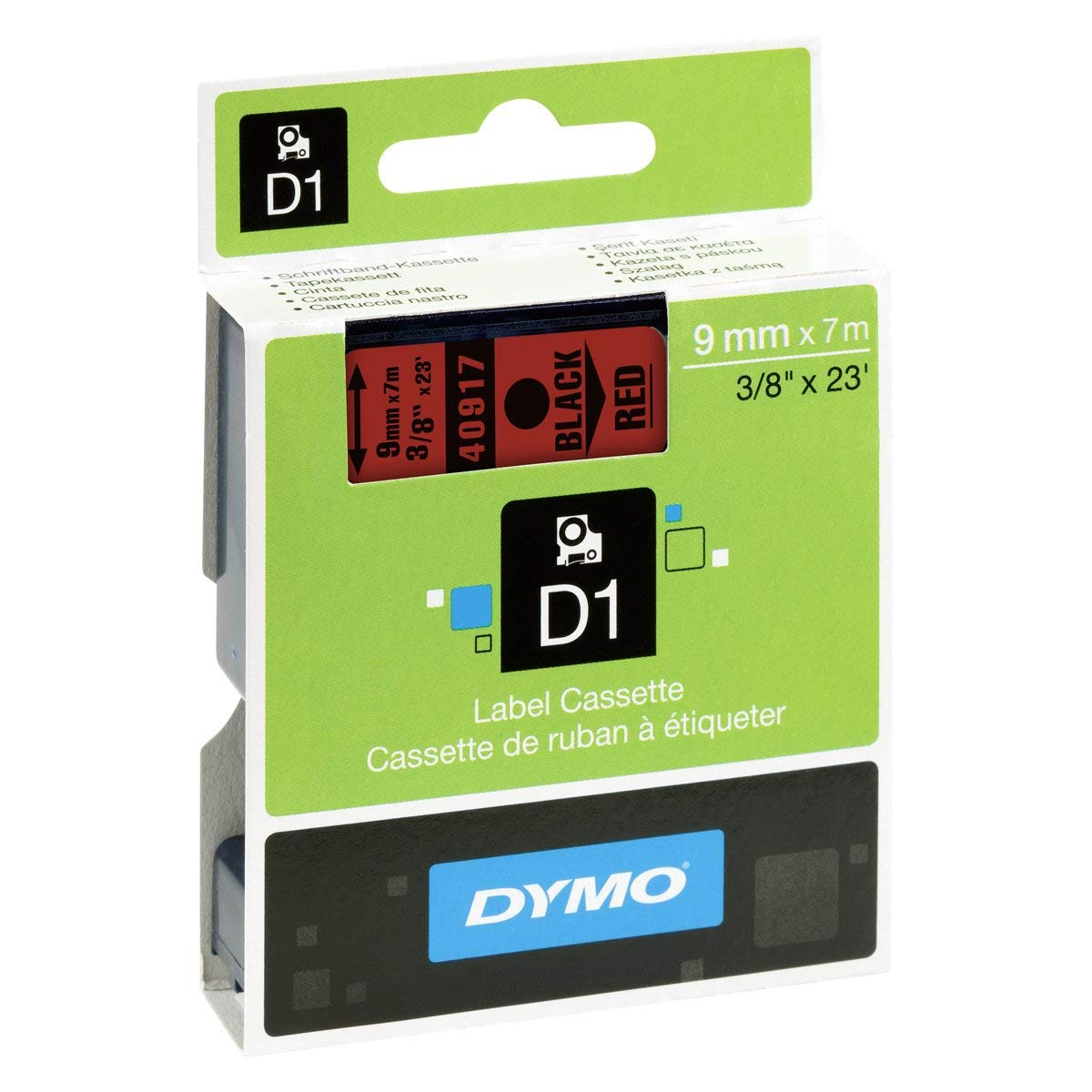 Dymo S0720720 (40917) D1 Standard Tape 9mm x 7m - Black on Red (pc)