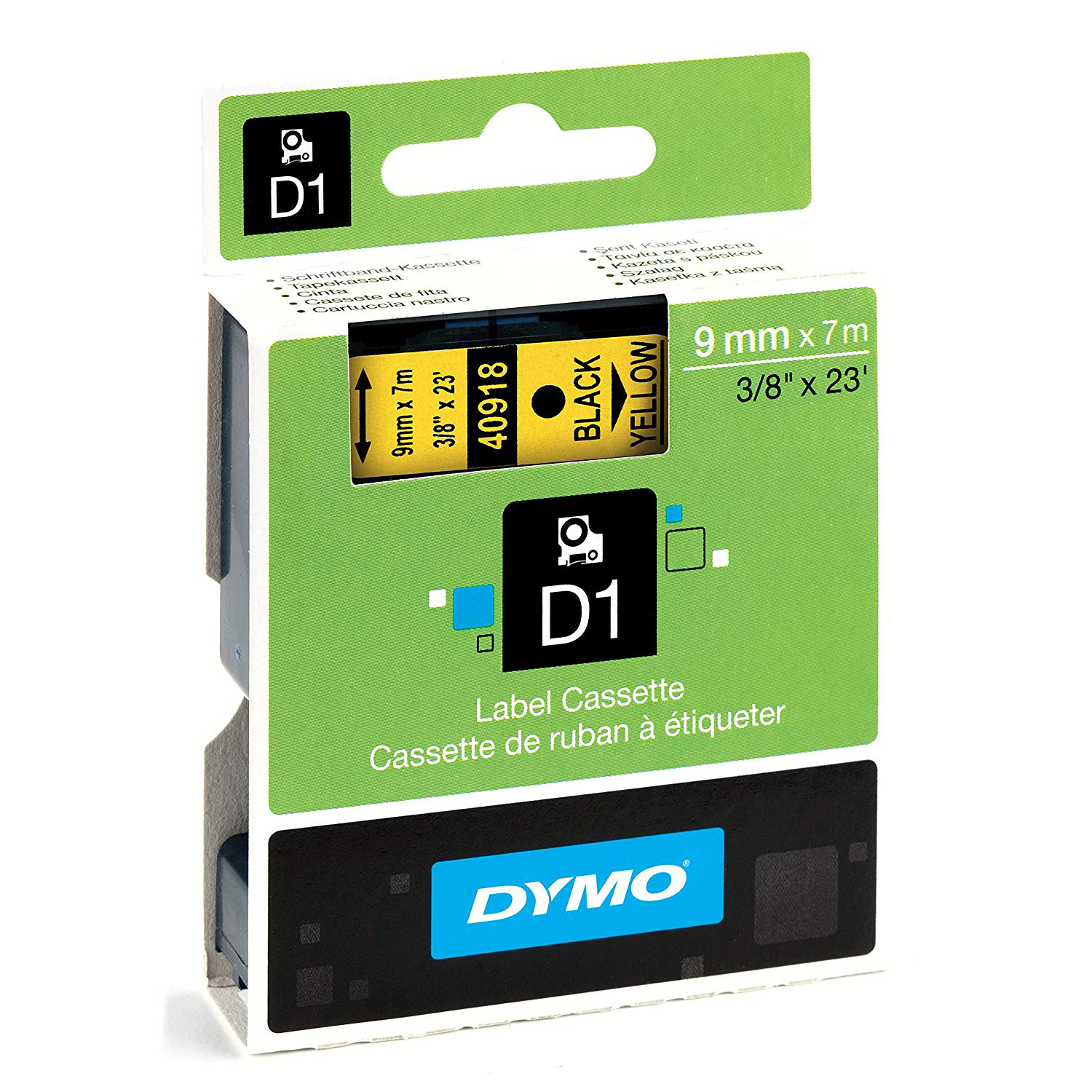 Dymo S0720730 (40918) D1 Standard Tape 9mm x 7m - Black on Yellow (pc)