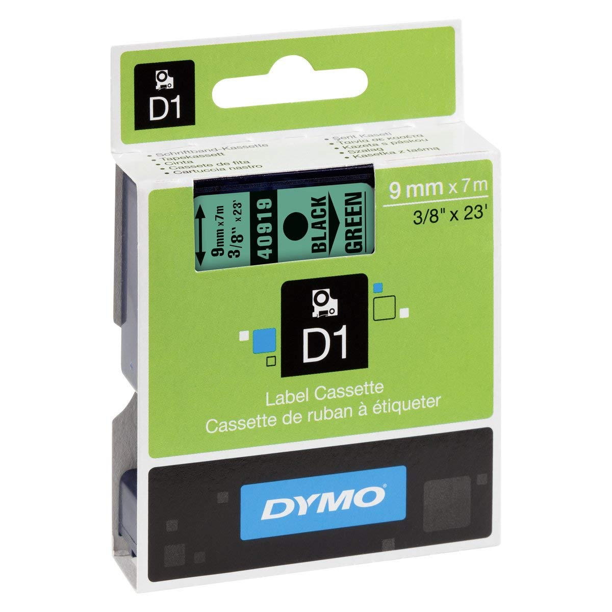 Dymo S0720740 (40919) D1 Standard Label Tape 9mm x 7m - Black on Green (pc)