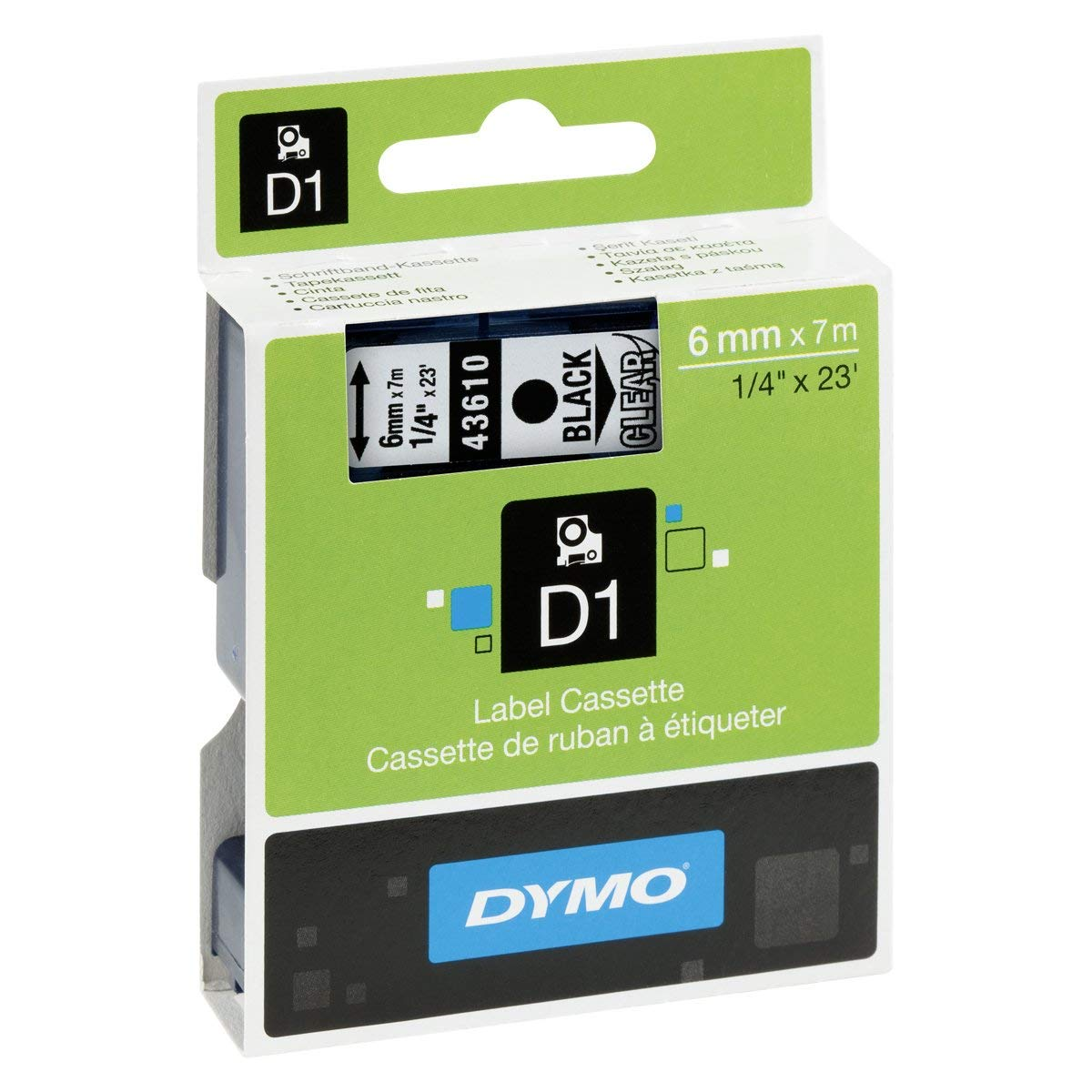 Dymo S0720770 (43610) D1 Label Tape 6mm x 7m - Black on Transparent (pc)
