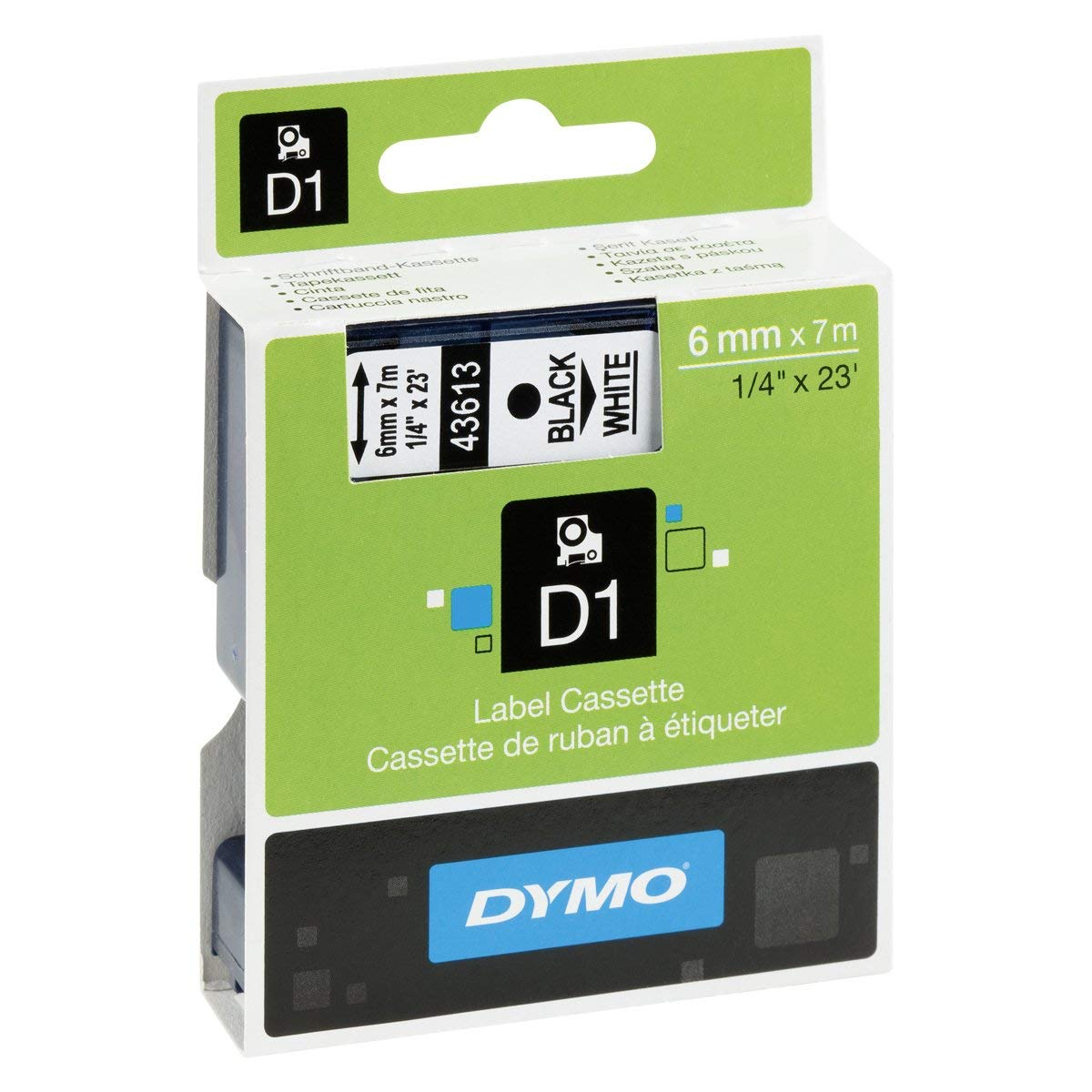 Dymo S0720780 (43613) D1 Label Tape 6mm x 7m - Black on White (pc)