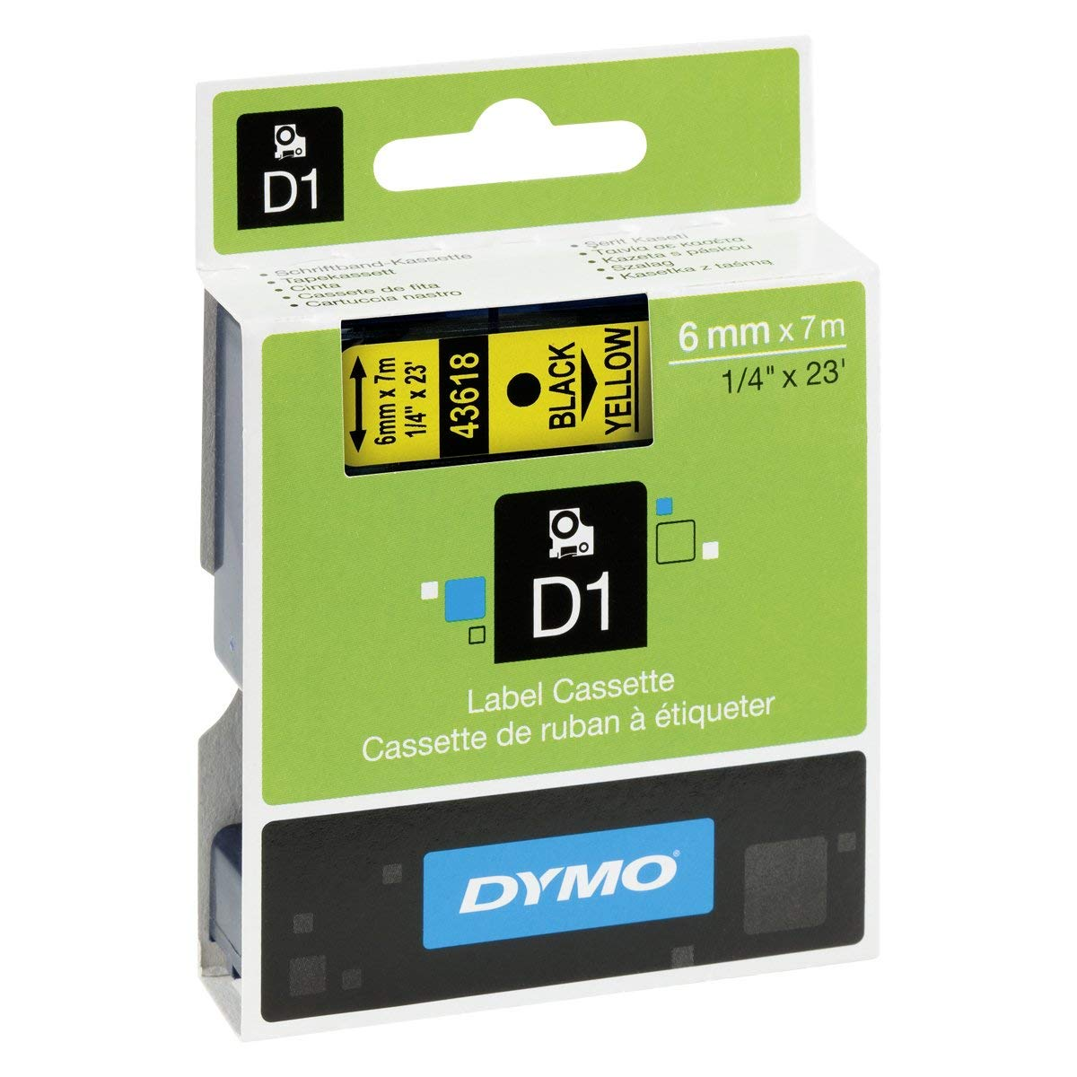 Dymo S0720790 (43618) D1 Label Tape 6mm x 7m - Black on Yellow (pc)