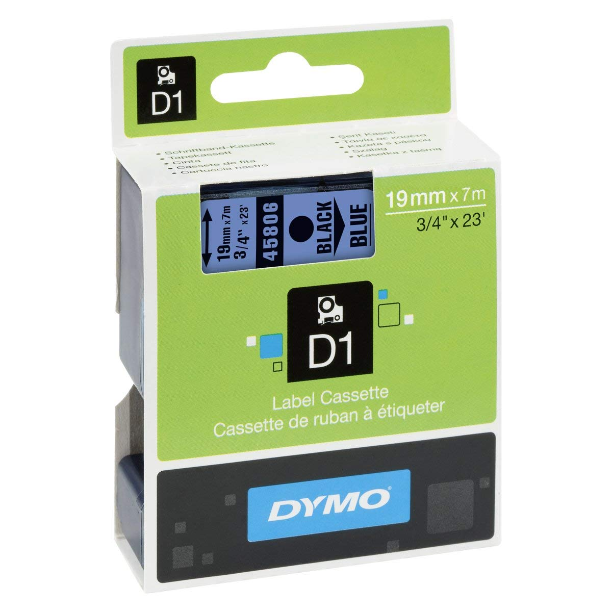Dymo S0720860 (45806) D1 Standard Label Tape 19mm x 7m - Black on Blue (pc)
