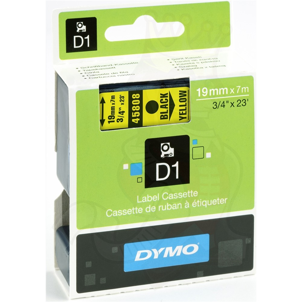 Dymo S0720880 (45808) D1 Standard Label Tape 19mm x 7m - Black on Yellow (pc)