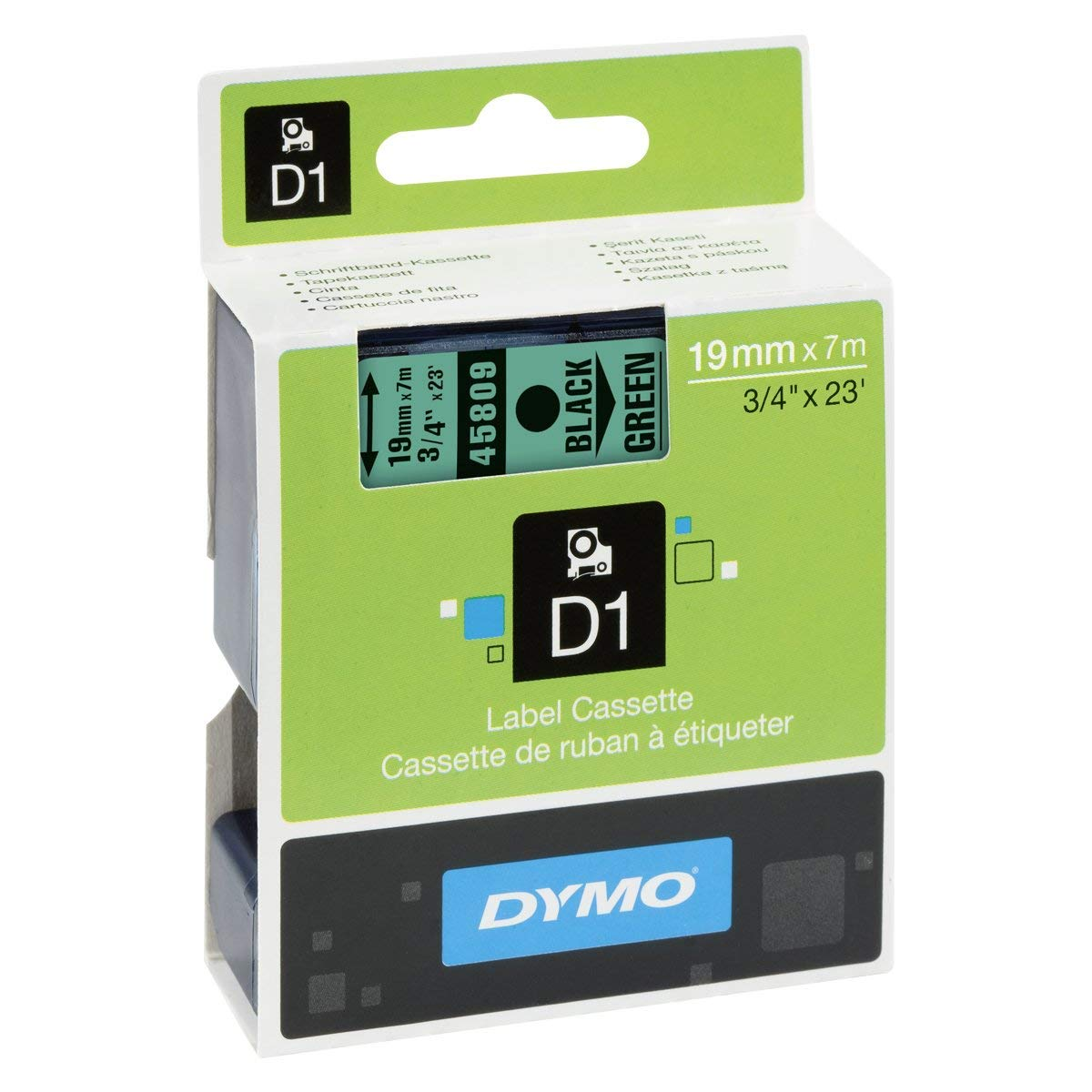 Dymo S0720890 (45809) D1 Standard Label Tape 19mm x 7m - Black on Green (pc)