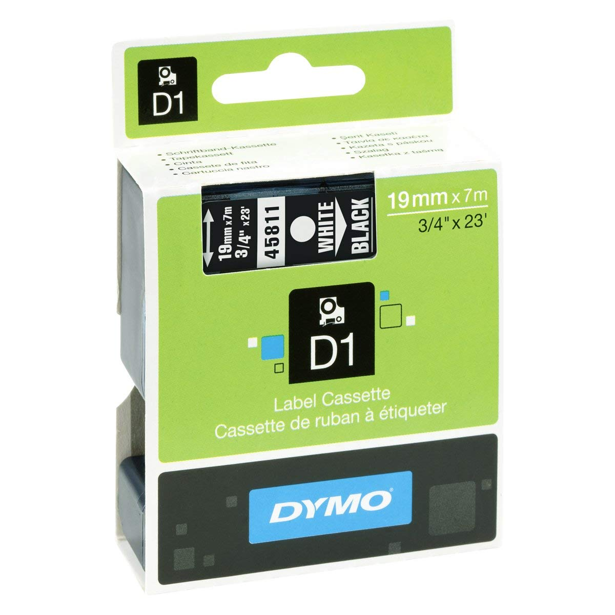 Dymo S0720910 (45811) D1 Label Tape 19mm x 7m - White on Black (pc),