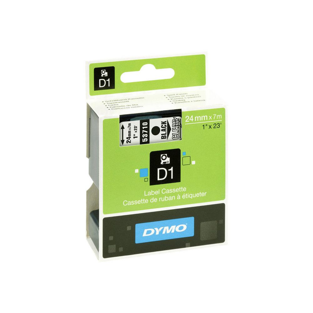 Dymo S0720920 (53710) D1 Label Tape 24mm x 7m - Black on Transparent (pc)