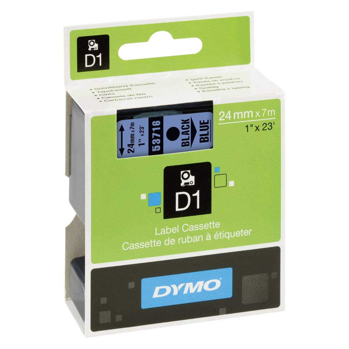 Dymo S0720960 (53716) D1 Label Tape 24mm x 7m - Black on Blue (pc)