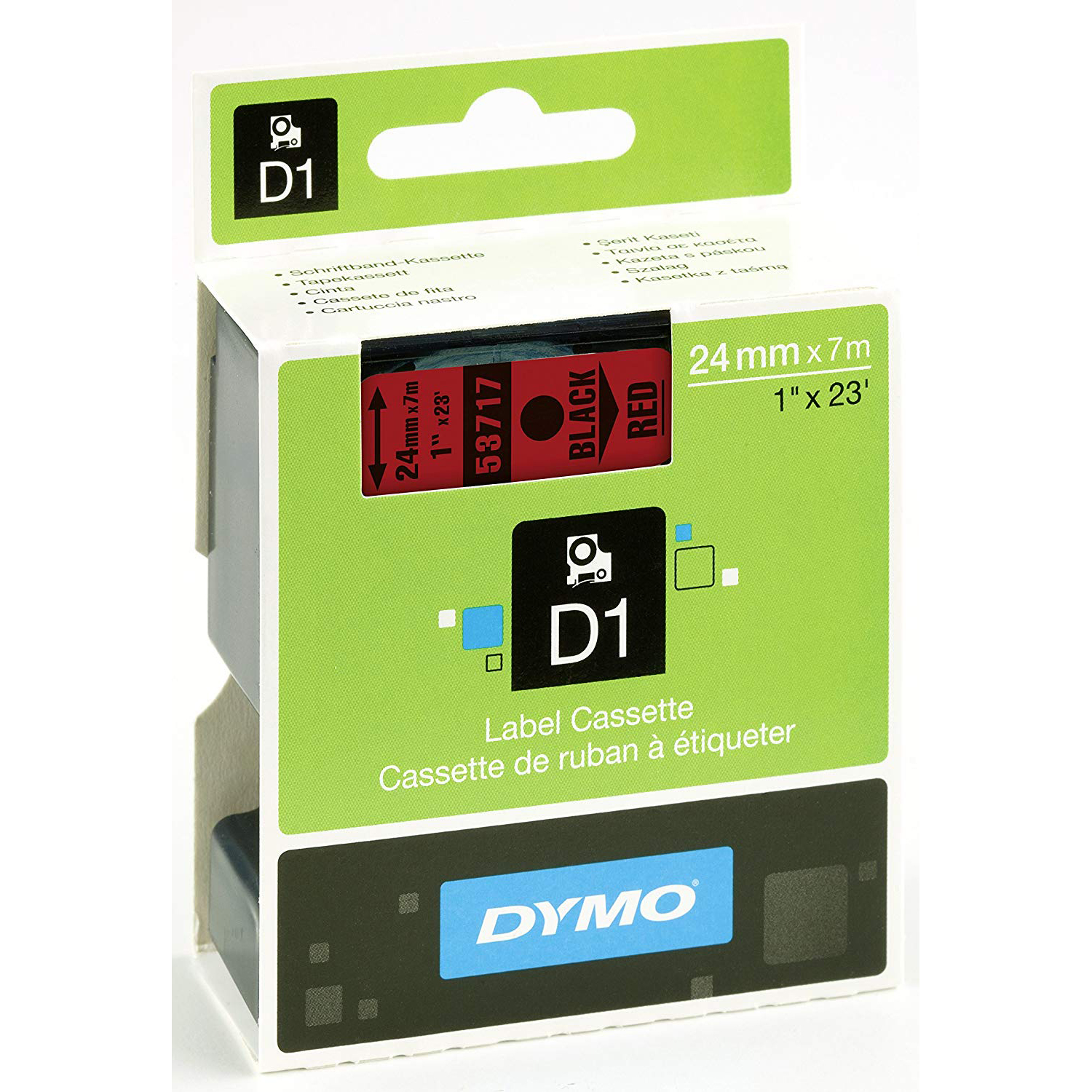 Dymo S0720970 (53717) D1 Label Tape 24mm x 7m - Black on Red (pc)