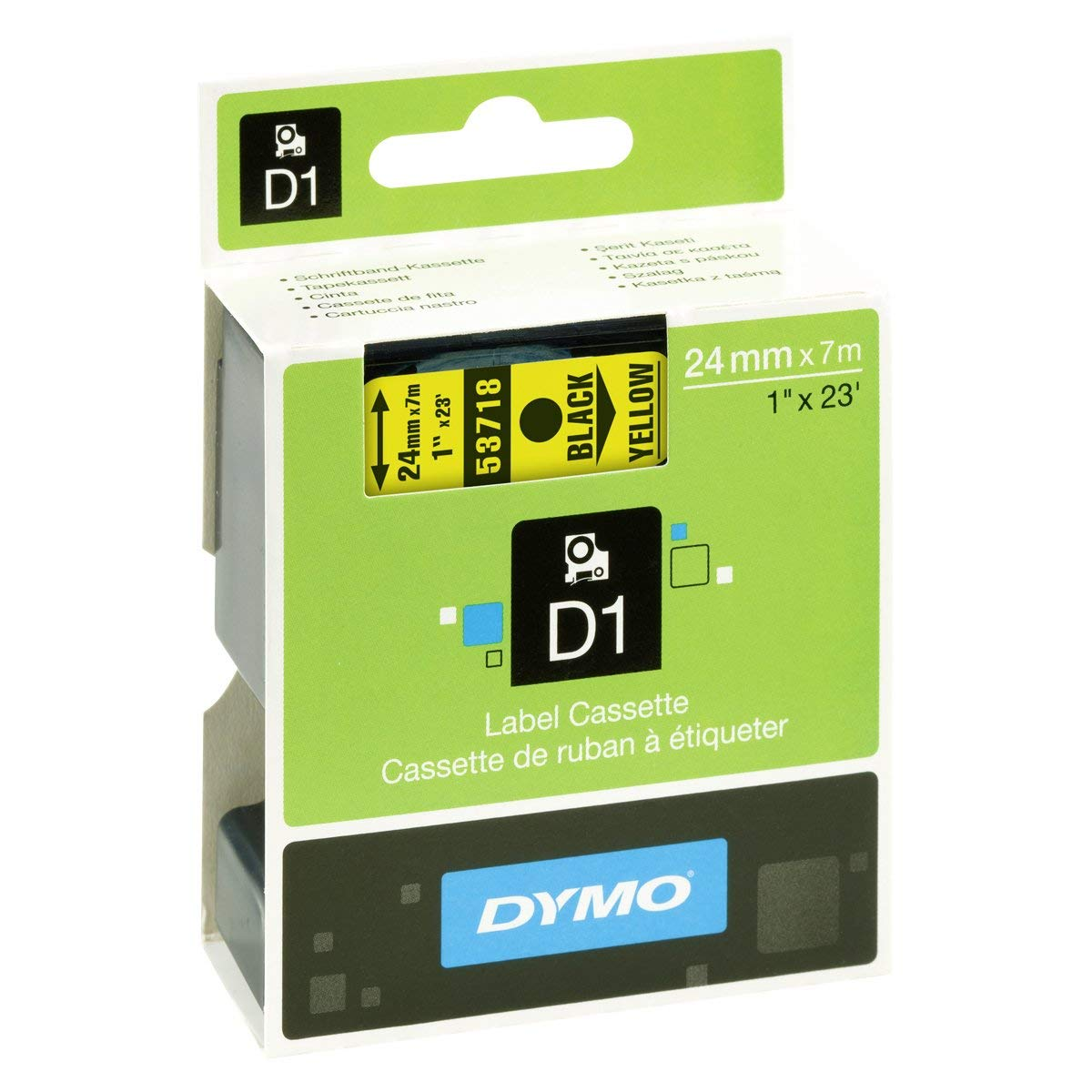Dymo S0720980 (53718) D1 Standard Self-Adhesive Label Tape 24mm x 7m - Black on Yellow (pc)