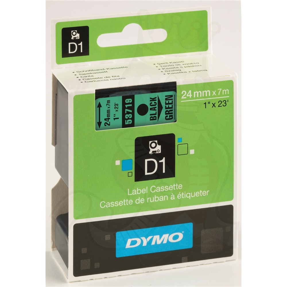 Dymo S0720990 (53719) D1 Label Tape 24mm x 7m - Black on Green (pc)