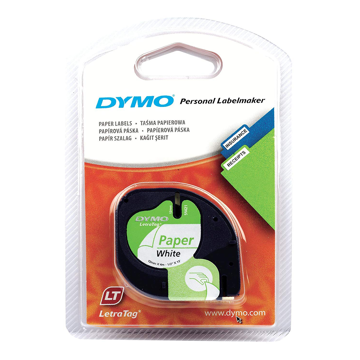 Dymo S0721510 (91200) LetraTag Self-Adhesive Paper Tape 12 mm x 4 m - Black on White (roll)