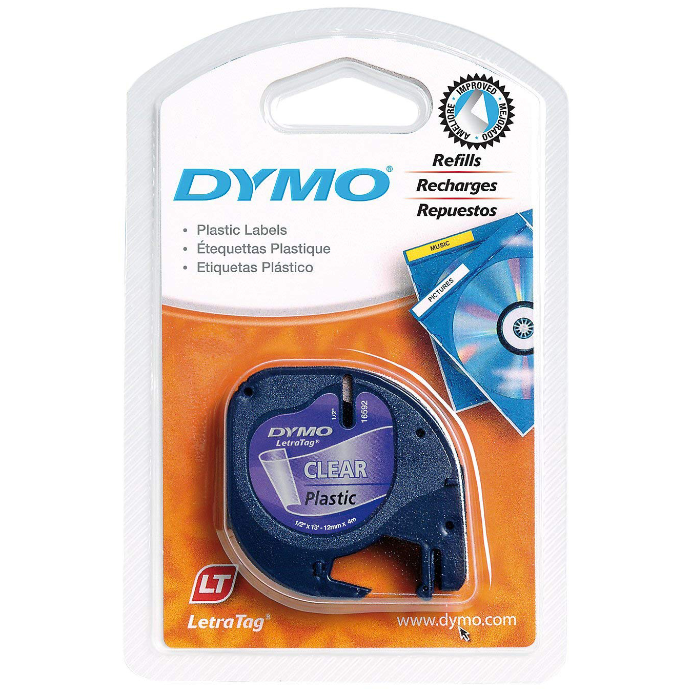 Dymo LetraTag S0721530 (12267) Plastic Label Tape 12mm x 4m - Black on Transparent (pc)
