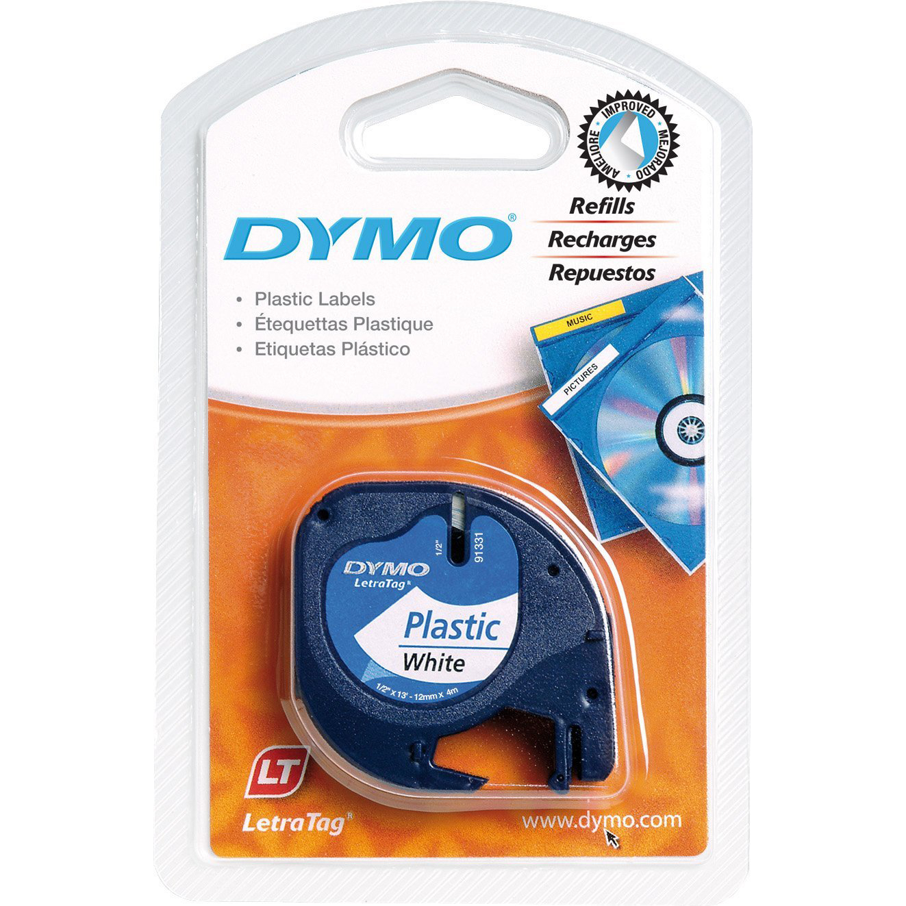 Dymo LetraTag S0721610 Plastic Label Tape 12mm x 4m - Black on White (roll)