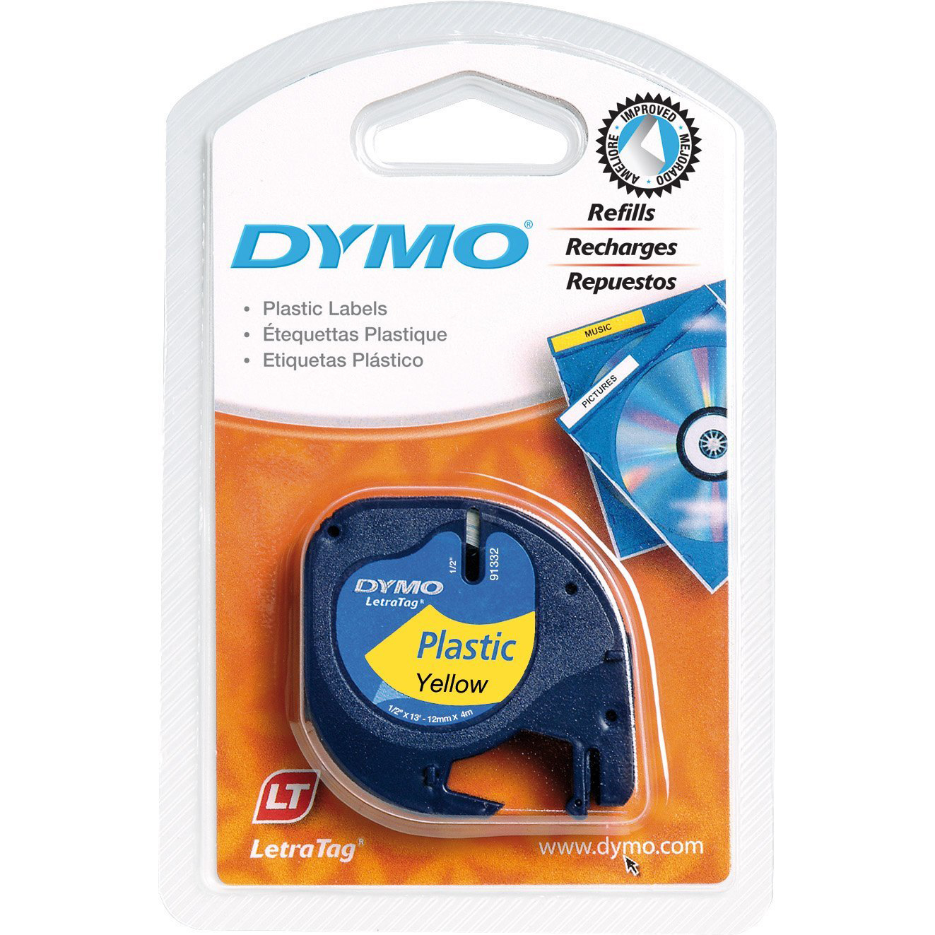 Dymo LetraTag S0721620 (91202) Plastic Label Tape 12mm x 4m - Black on Yellow (pc)