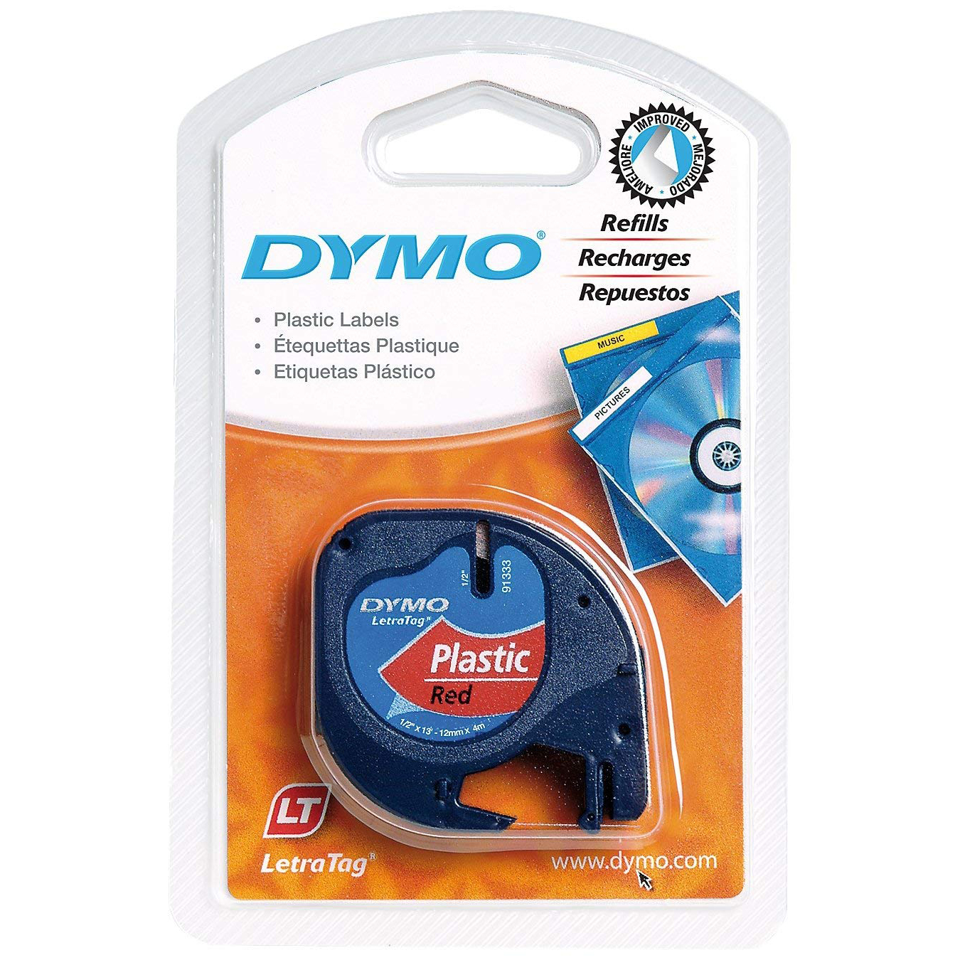 Dymo LetraTag S0721630 (91203) Plastic Label Tape 12mm x 4m - Black on Red (roll)