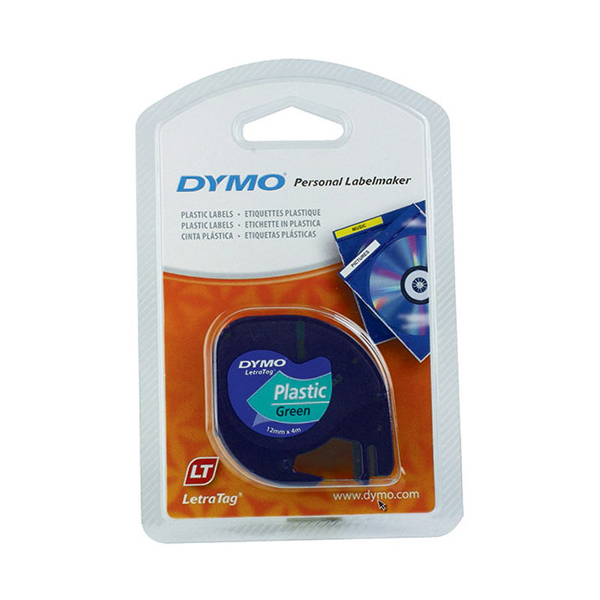 Dymo LetraTag S0721640 (91204) Plastic Label Tape 12mm x 4m - Black on Green (pc)