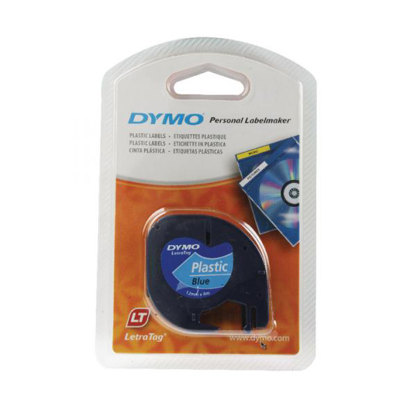 Dymo LetraTag S0721650 (91205) Plastic Label Tape 12mm x 4m - Black on Blue (pc)