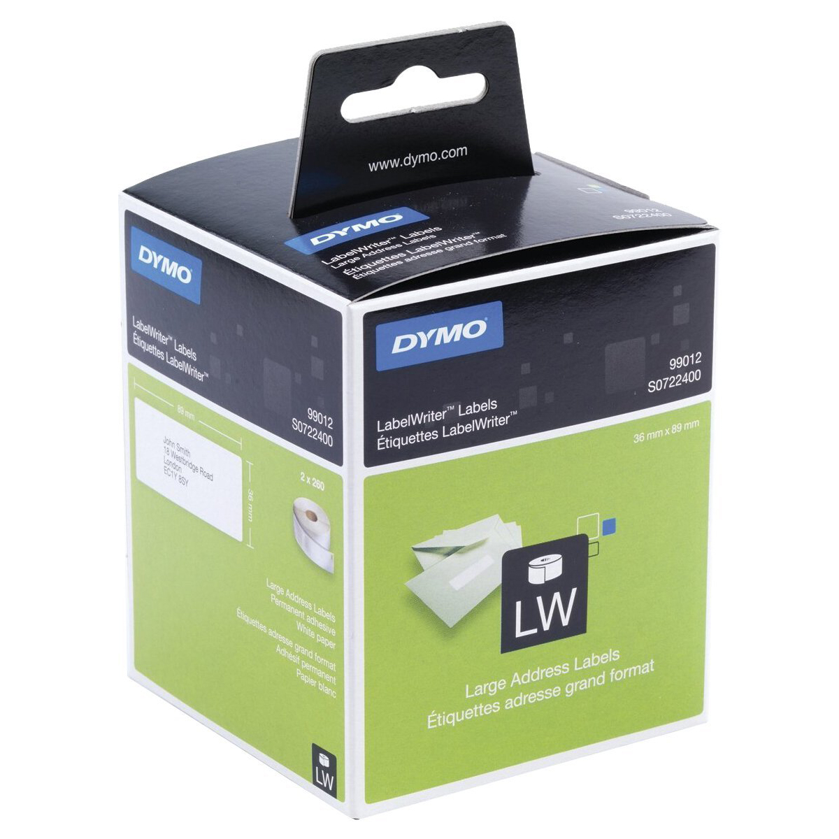 Dymo S0722400 Large Address LW Labels Black on White 89mm x 36mm - 260 Labels/Roll (pkt/2pcs)