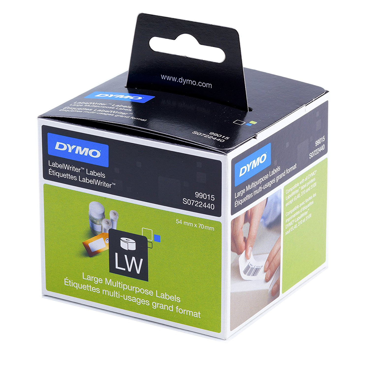Dymo S0722440 (99015) LabelWriter Large Multipurpose Labels 54mm x 70mm - Black on White (roll)