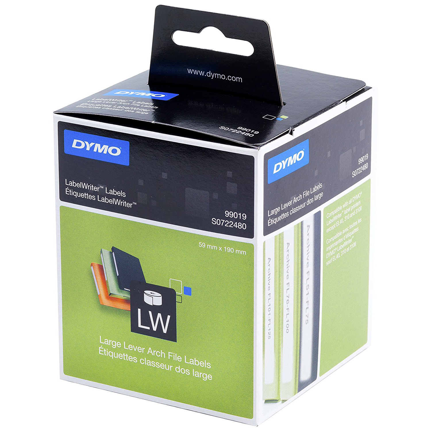 Dymo S0722480 (99019) LW Broad Folder Labels Black on White 190mm x 59mm - 110 Labels/Roll