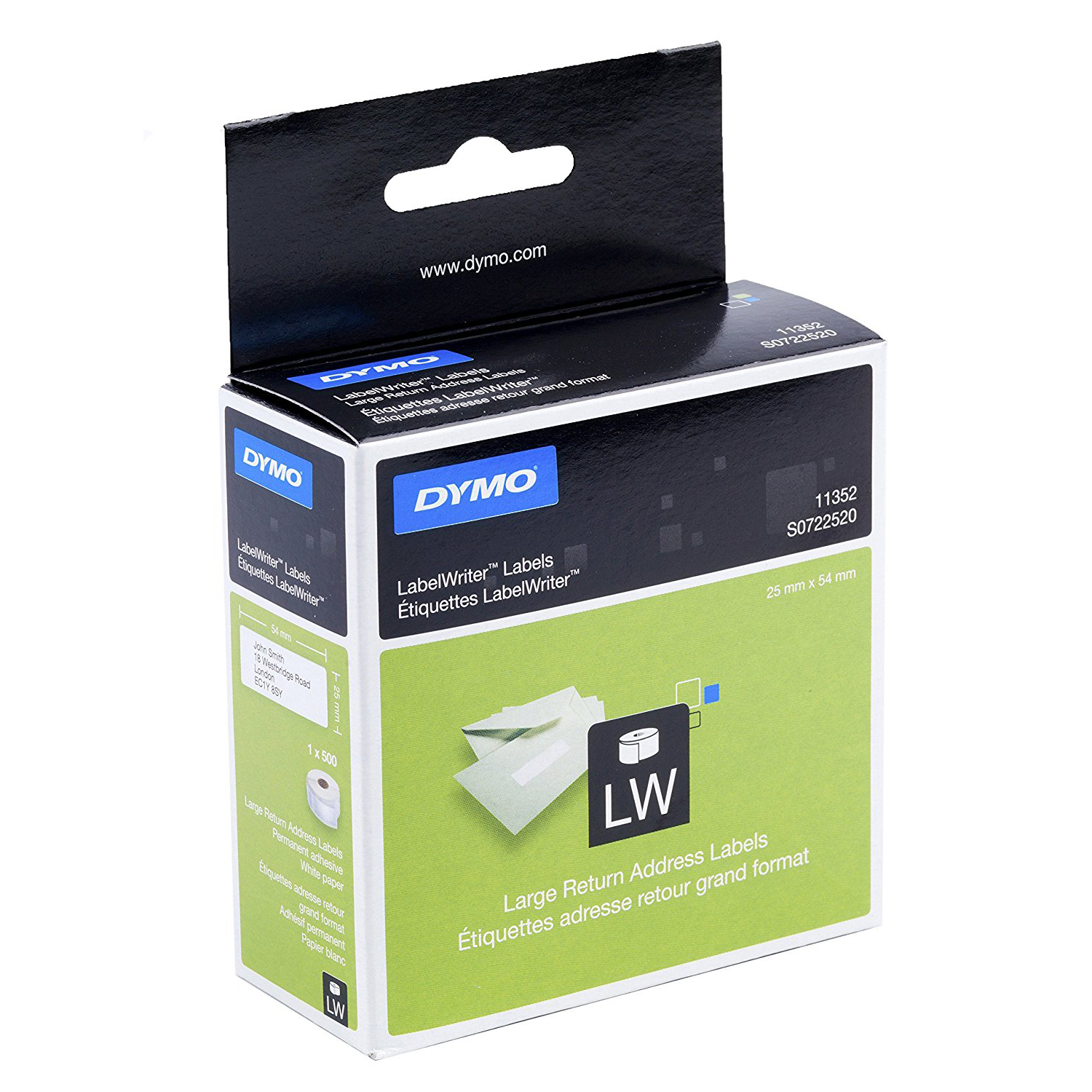 Dymo S0722520 (11352) LabelWriter Large Self-Adhesive Return Address Labels 54mm x 25 mm Roll of 500 - Black Print on White (roll)