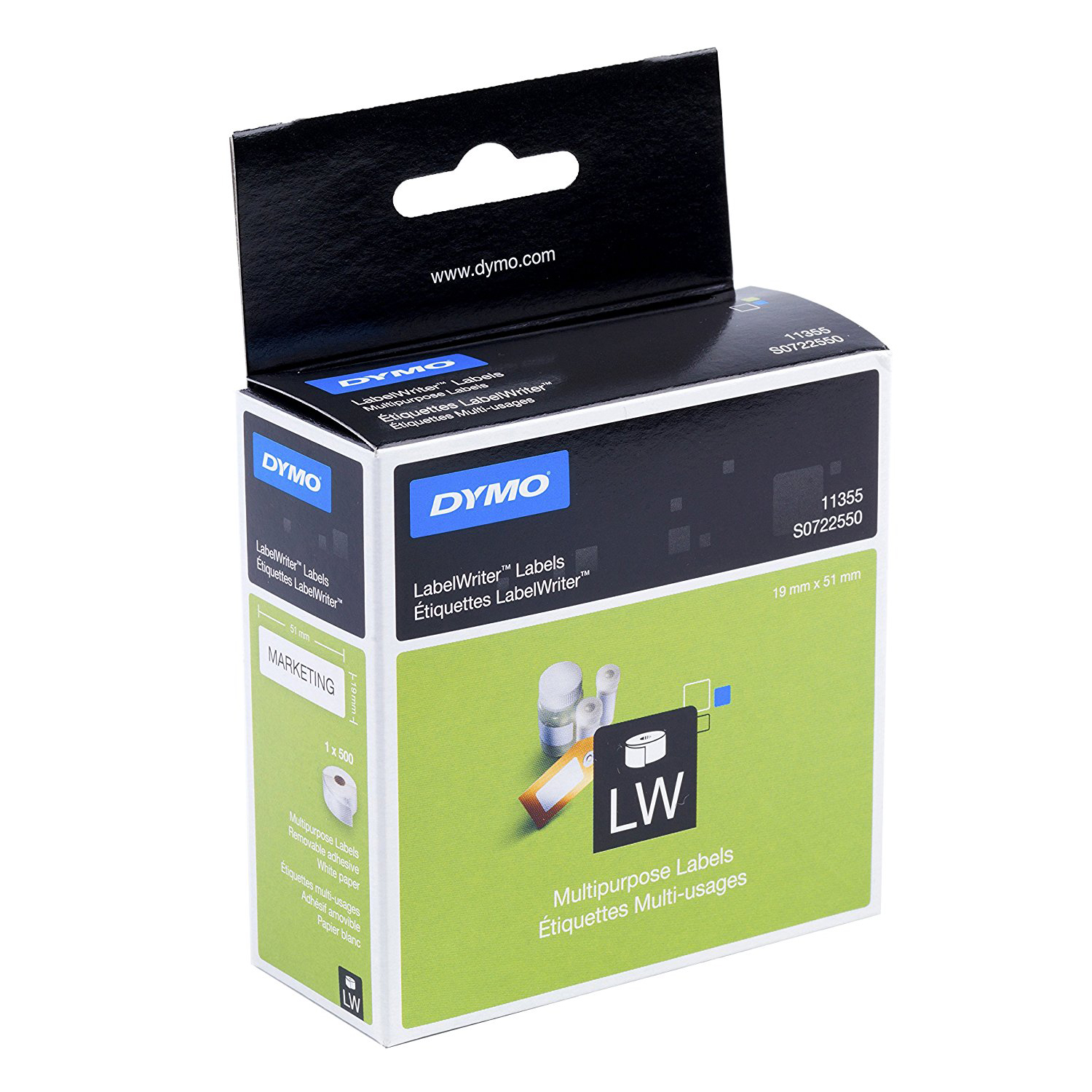 Dymo S0722550 (11355) LabelWriter Multi-Purpose Labels 19mm x 51mm 500 Labels/Roll - Black Print on White (roll)