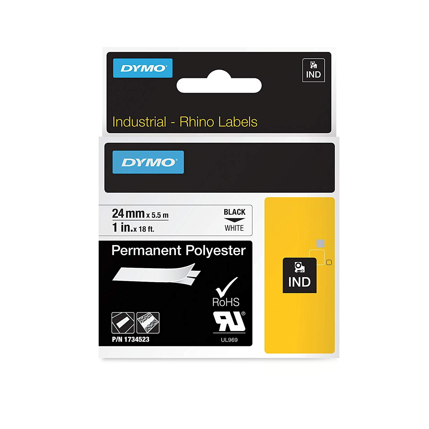 Dymo Rhino S0773830 (1734523) Permanent Polyester Tape 24mm x 5.5m - Black on White (pc)
