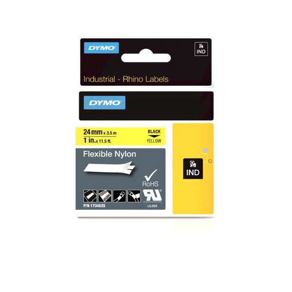 Dymo Rhino S0773850 (1734525)  Flexible Nylon Tape 24mm x 3.5m - Black on Yellow (pc)