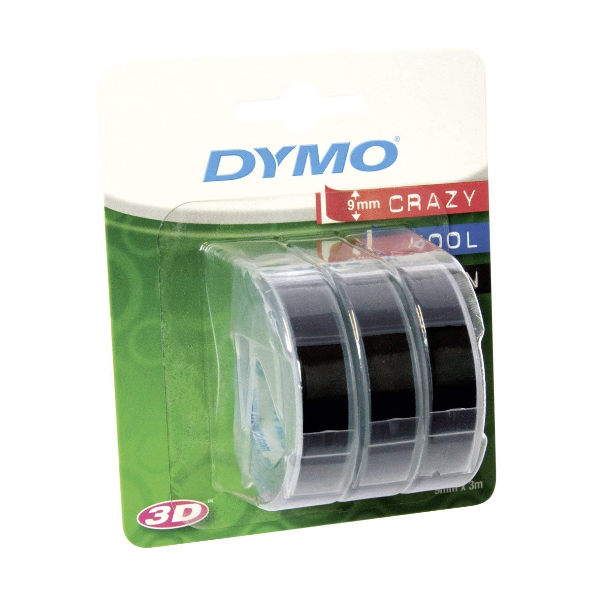 Dymo S0847730 3D Embossing Tape 9mm x 3m - White On Black (pkt/3pcs)