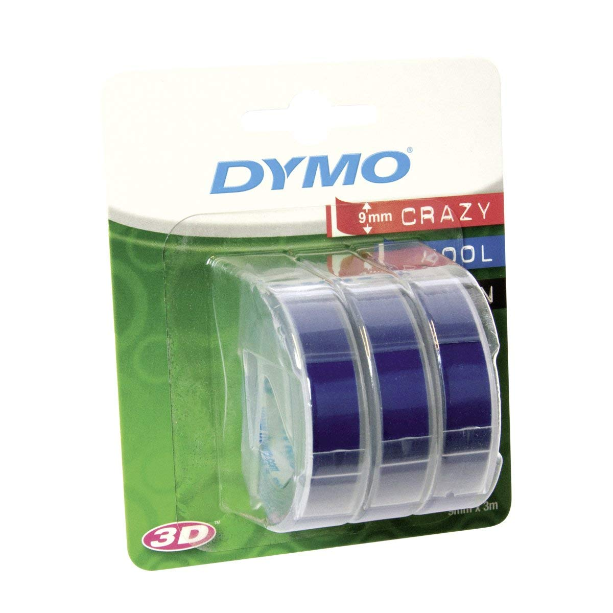 Dymo S0847740 3D Embossing Tape 9mm x 3m - White On Blue (pkt/3pcs)