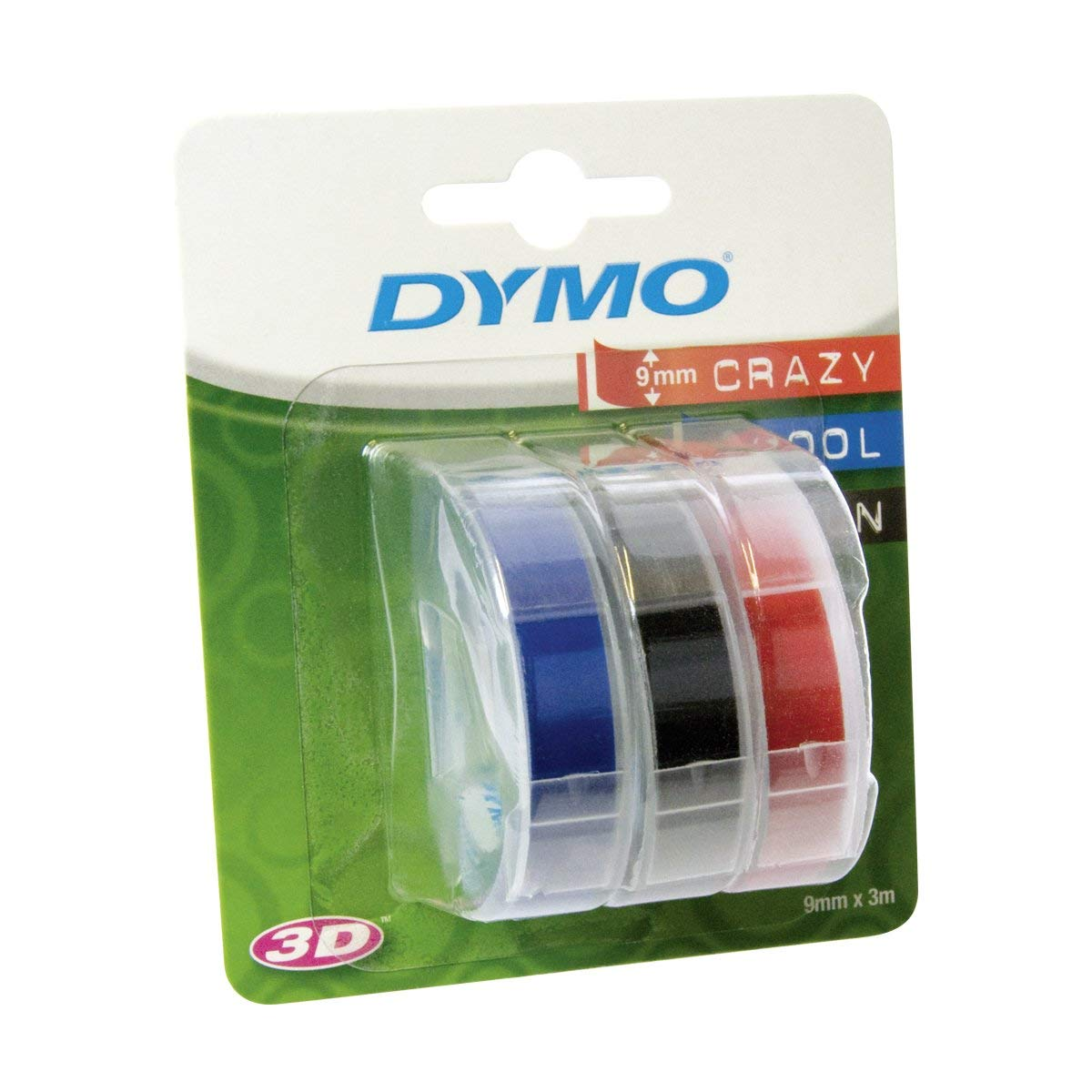 Dymo S0847750 3D Embossing Tape 9mm x 3m - Assorted (pkt/3pc)