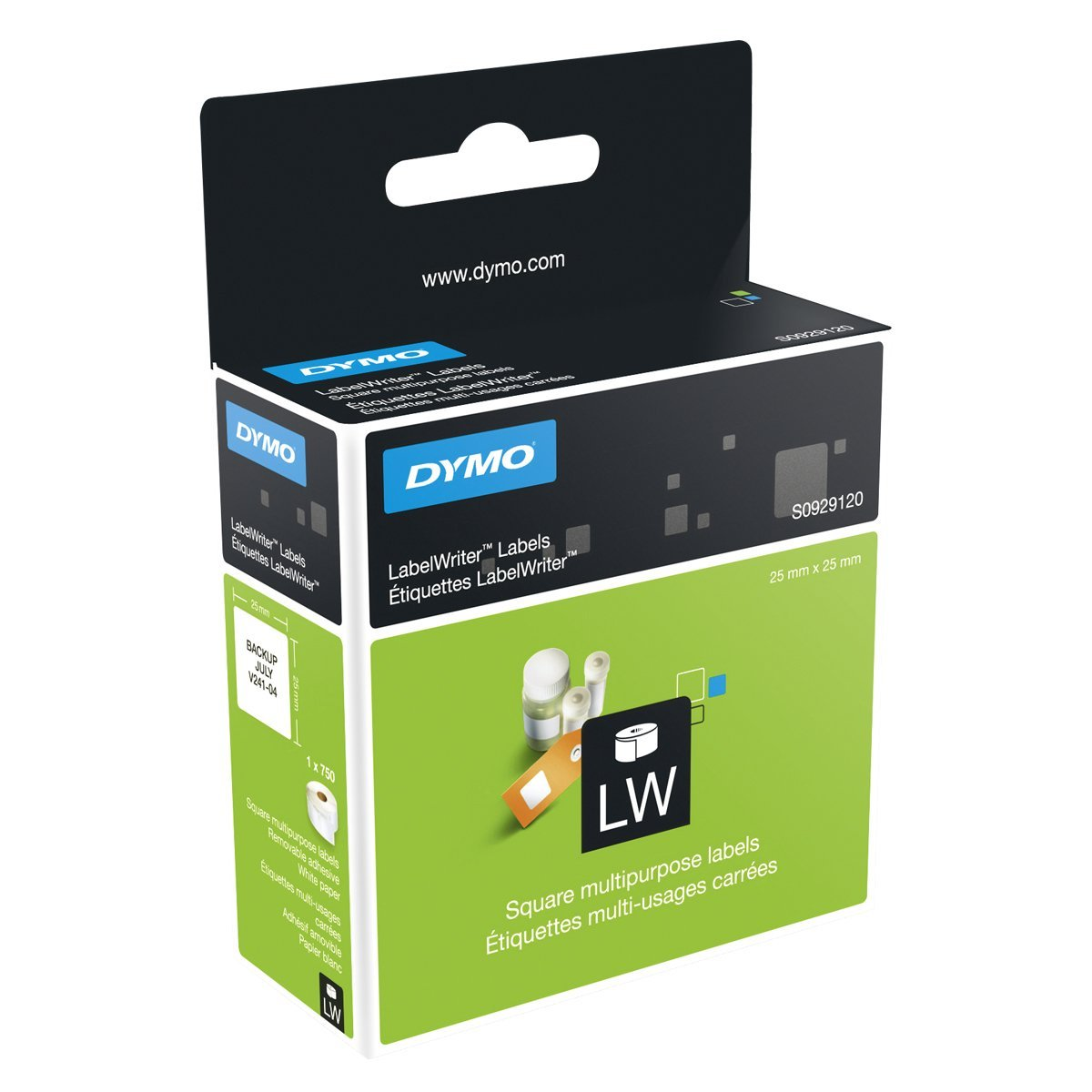 Dymo S0929120 LabelWriter Multi-Purpose Labels 25 mm x 25 mm - Black on White (roll)