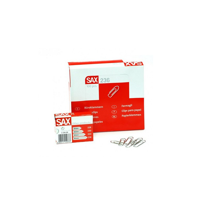 SAX 236 Paper Clips - 50mm (box/10pkt)