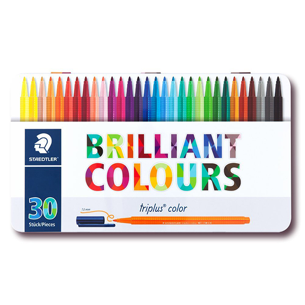 Staedtler Triplus 323 Fibre Tip Pen - 30 Assorted Colors (box/30pcs)