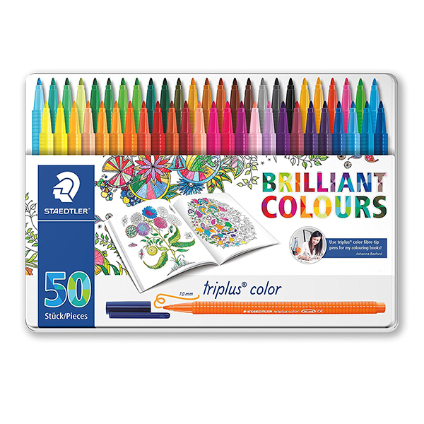 Staedtler Triplus 323 Fibre Tip Pen, Johanna Basford Edition - 50 Assorted Colors (box/50pcs)