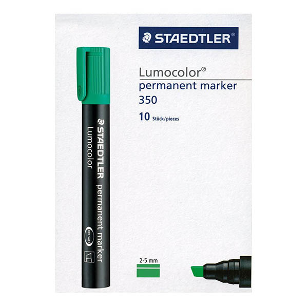 Staedtler Lumocolor Permanent Marker with Chisel Tip - Green (pkt/10pcs)