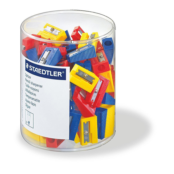 Staedtler 510-50 Single Hole Plastic Sharpeners - Assorted Colors (box/100pcs)