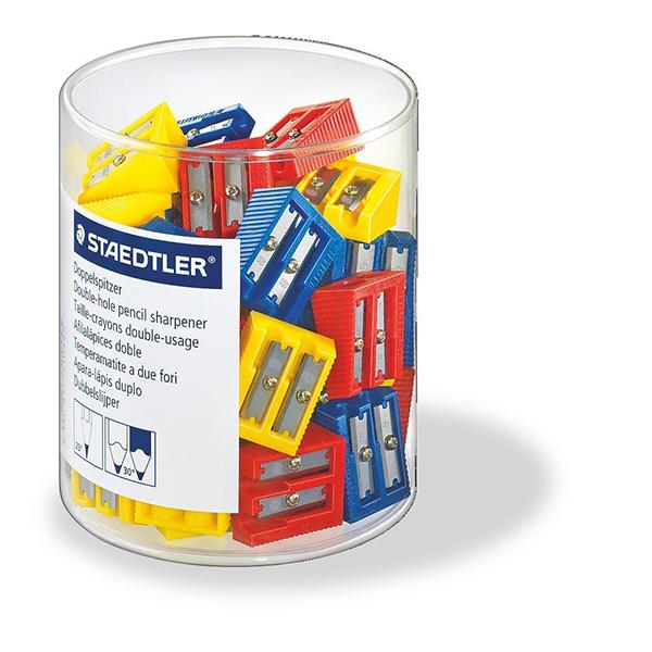 Staedtler Double-hole Plastic Pencil Sharpener - Assorted Colors (box/50pcs)