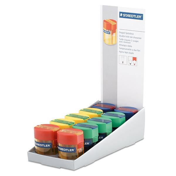 Staedtler 512 006 Double-hole Transparent Tub Sharpener - Assorted Colors (box/10pcs)