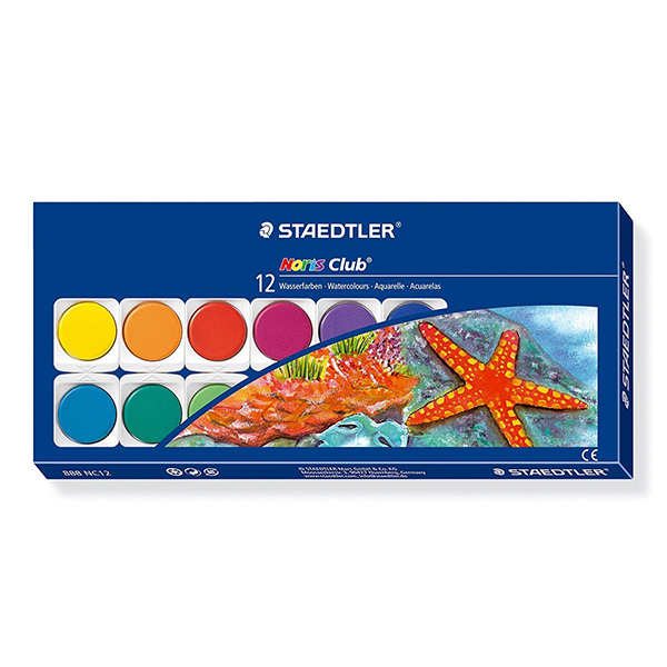 Staedtler Noris Club Watercolour Paint Box - 888 NC12 (pkt/12pcs)