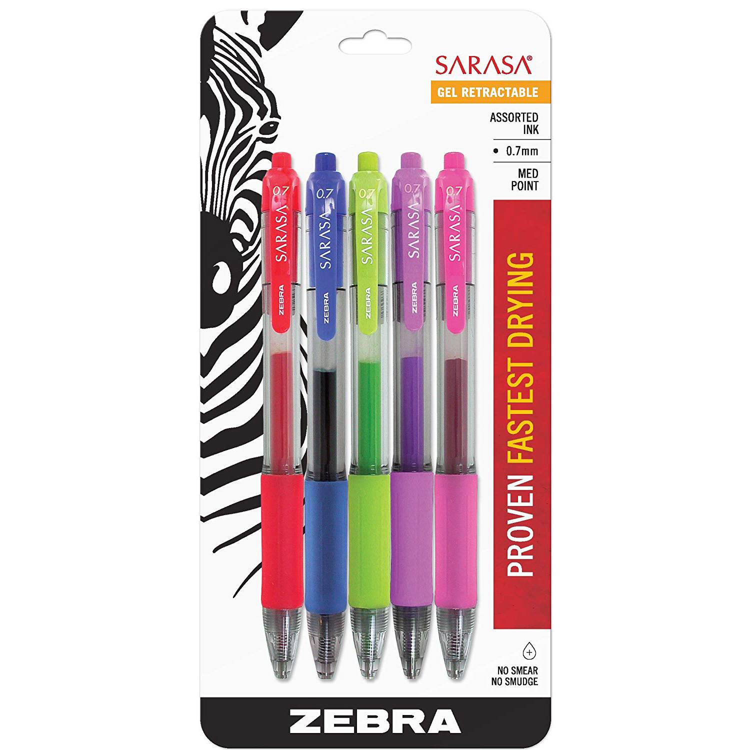 Zebra Sarasa Gel Retractable Pen - Assorted Colors (pkt/5pcs)