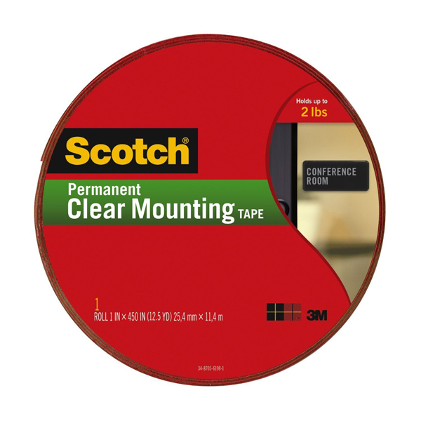 3M Scotch 4010-LONG Permanent Mounting Tape Clear - 1in x 450in (pc)