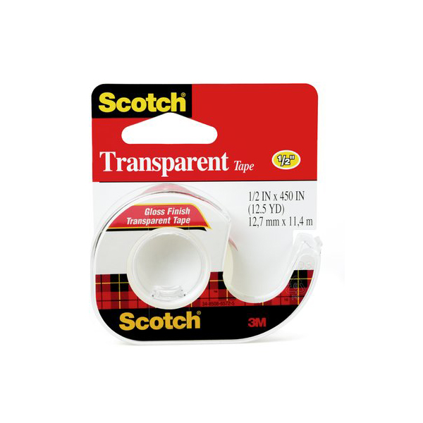 3M Scotch 144 Transparent Tape with Dispenser - 1/2in x 450in (pc)