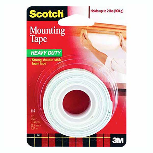 3M Scotch 114 Heavy-Duty Mounting Tape - 1in x 50in (pc)
