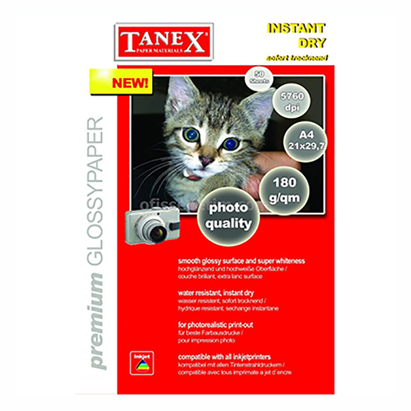 Tanex Glossy Paper 180gsm - A4 (pkt/50s)